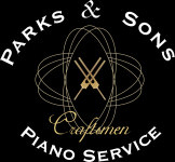 Parks and Sons Piano Logo is two tuning forks crossed with audio waves surrounding them. Parks and Sons displayed above. Piano Service displayed below. The word Craftsmen overlaying near the bottom.